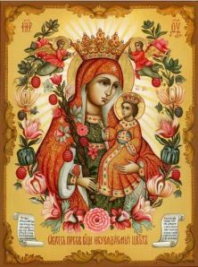 Russian Floral Icon of Panaghia